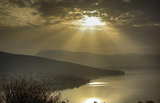 Sunrays, Lake, Water, Sky, Clouds, Scenic, Summer