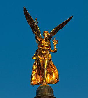 Statue, Gold, Harmony, Angel, Angel Of Peace, Golden