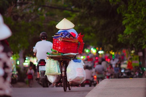 Life, Garbage, Collector, Simple, Bicycle, Street