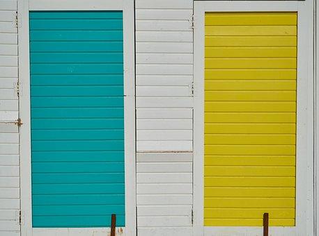 Blue, Yellow, White, Door, Wood, Wood-fibre Boards