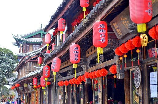 China, Tourism, Chinese, Lamps, Red, Lijiang, Yunan