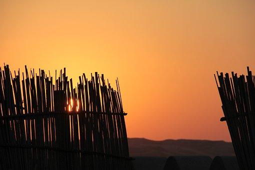 Sunset, Desert, Landscape, Sand, Orange, Evening