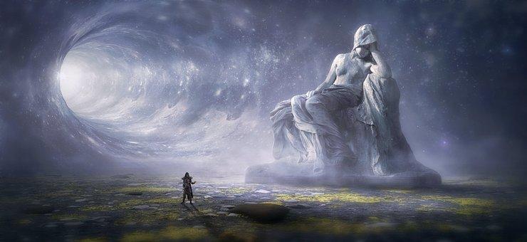 Fantasy, Landscape, Statue, Woman, Human, Tunnel, Dream