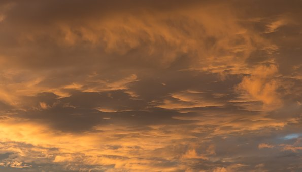 Sky, Clouds, Sunset, Pastel, Grey, Gold, Background