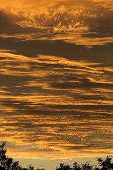 Sunset, Sky, Orange, Grey, Clouds, Layered, Horizon