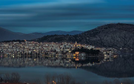 Kastoria, Greece, Town, Nature, Cold, Landscape, White