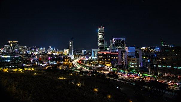 Night City, Seoul, Travel, Korea, Sky, Modern, Light