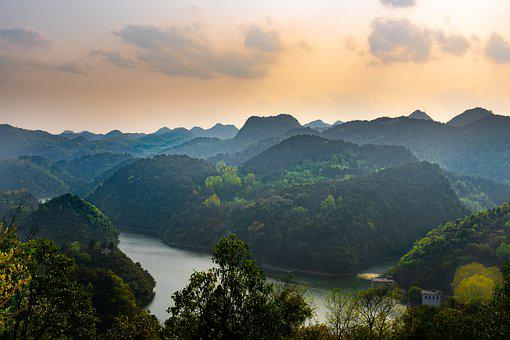 Mountain, Lake, Reservoir, Sunset, Cloud, Haze