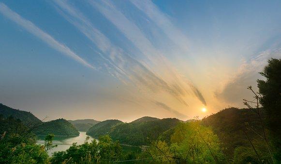 Sunset, Mountain, Cloud, Lake, Guiyang
