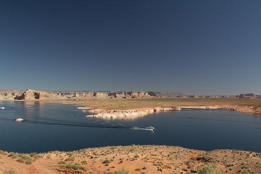 Usa, Lake, Desert, Landscape, America, Lake Powel