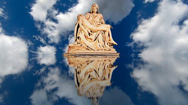 Sky, Statue, Sculpture, Figure, Photomontage, Landscape
