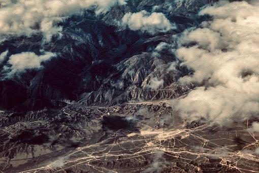 Aerial, Landscape, Cloudy, Mountains, Shadows, Desert