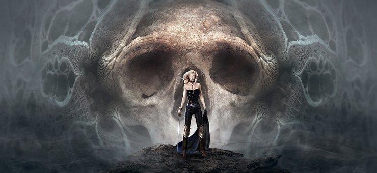 Fantasy, Mystical, Scary Woman, Amazone, Skull