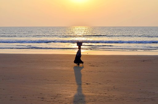 India, Goa, Vacator, Woman, Sunset, Beach, Sea, Nature