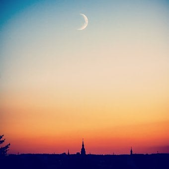 City, Evening, Moon, Sunset, Moonlight, Night