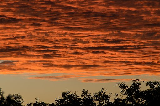 Sunset, Sky, Grey, Orange, Blue, Clouds, Layered