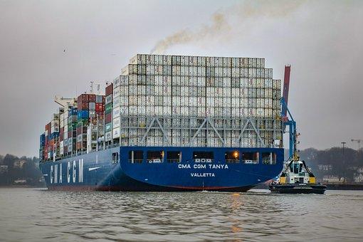 Container Ship, Hamburg, Port, Ship, Elbe, Shipping