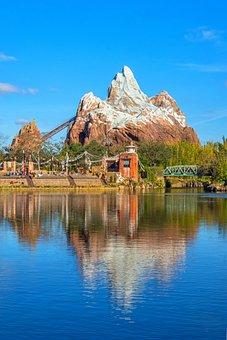 Disney, Everest, Roller Coaster, Lake, Reflection
