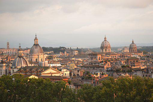 Rome, Sunset, Twilight, Landscape, Roofs, Domes