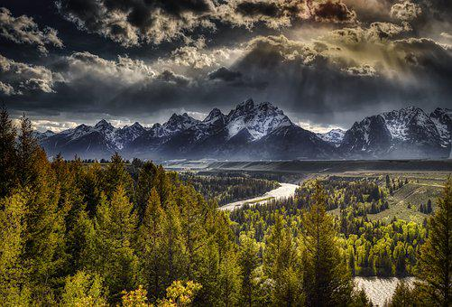 Tetons, Mountains, Fog, Sunrise, Dawn, Wyoming, Tourism