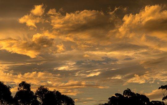 Sunset, Sky, Orange, Gold, Yellow, Grey, Clouds