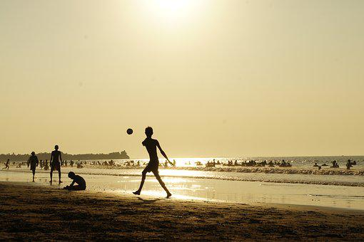 Children, Play, Beach, Football, Action, Back Light