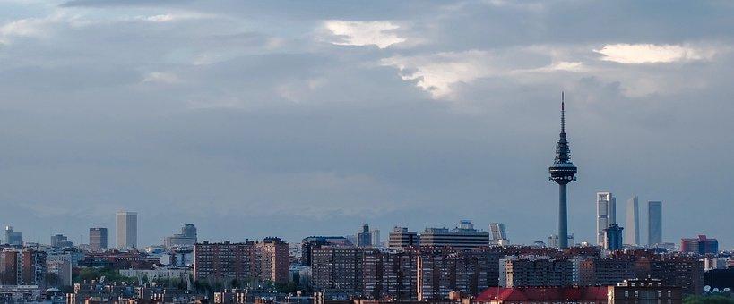 Skyline, Madrid, Skyscraper, Architecture, Sunset