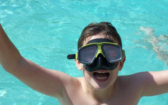 Swimming, Diving, Child, Blue, Swimming Pool