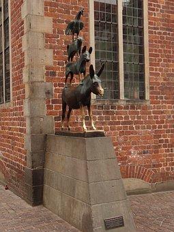 Bremen Town Musicians, Monument, Bremen, City, Animals
