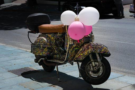 Scooter, Moto, Balloons, Color, Camouflage, Vehicle