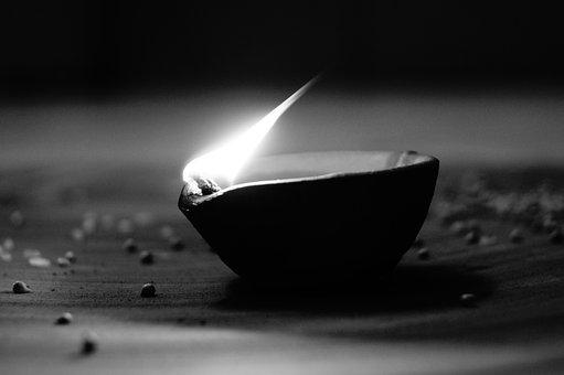 Diwali, Festival, Candle, Blackandwhite