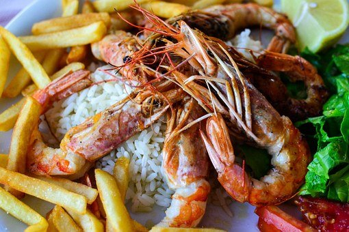 Rice, Chips, Shrimps, Food, Delicious, Oriental