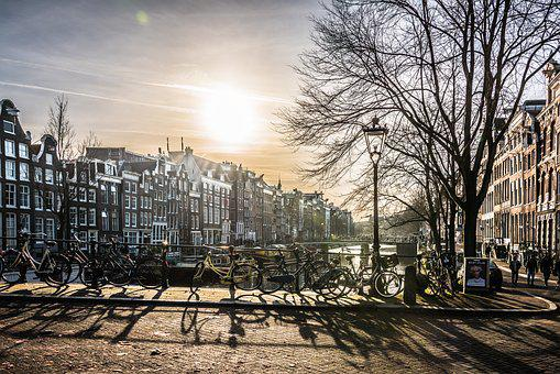 Amsterdam, City, Bridge, River, Sun, Building