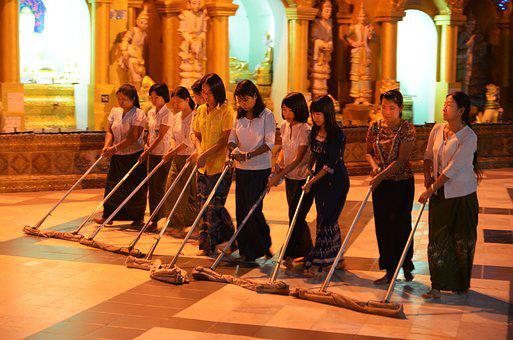 Cleaning Staff, Shwedagon Mirabello, Pagoda, Wipe