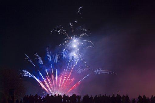 Fireworks, Festivity, Explosive, Colours, Blue, Red