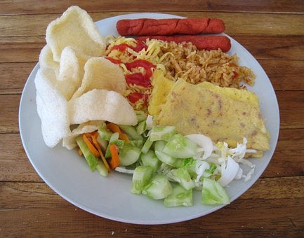 Rice, Egg, Chicken, Crab Chips, Salad, Food, Plate