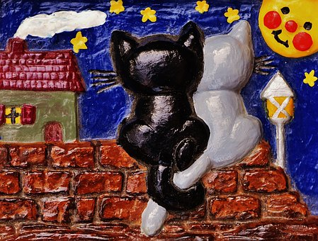 Relief, Gypsum, Hand Labor, Cat, Moon, Sit, Wall, Cute