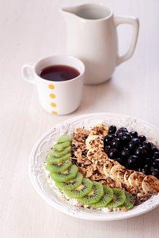 Breakfast With Fruit, Oatmeal, Tea, Food, Dessert, Cup
