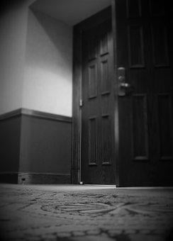 Door, Black And White, Light, Black, White, Interior