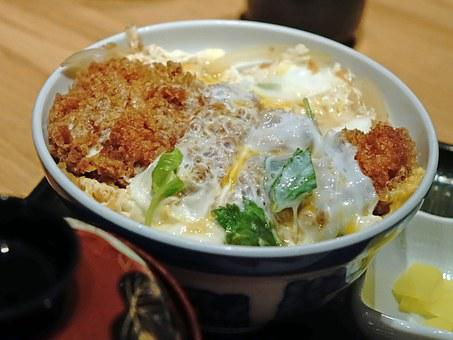 Japanese, Pork, Katsu Don, Deep Fried, Egg, Rice, Bowl