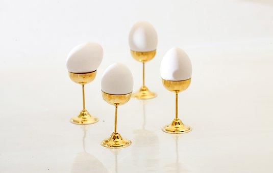Egg, Pedestal, Egg Stand, Golden, Gilt, Egg Cup