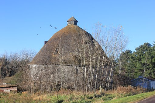 Round Barn, Barn, Rural, Countryside, Building, Farm