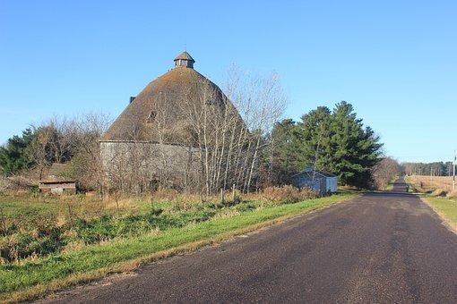Farm, Barn, Round Barn, Countryside, Rural, Wooden