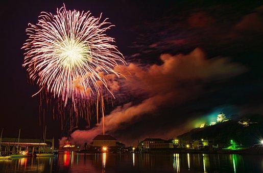 Hirado, Fireworks, Japan, Summer, Night, Festival