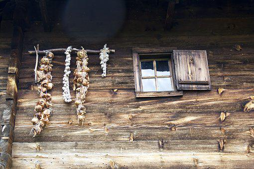 Garlic, Old, Village, Rustic, Wooden, Natural