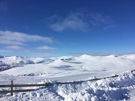 Hemavan, Blue Sky, Snow, Winter, White, Mountain Top
