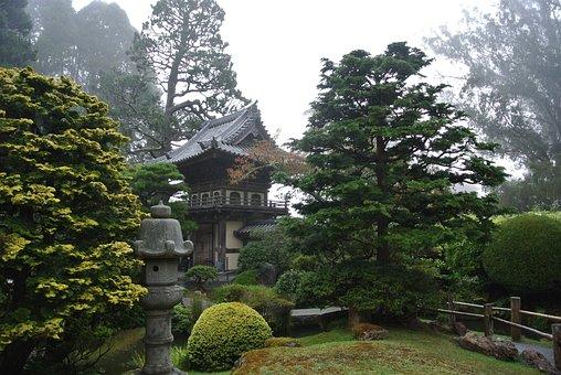 San Fransisco, Fog, Pagoda, Japanese Tea Garden