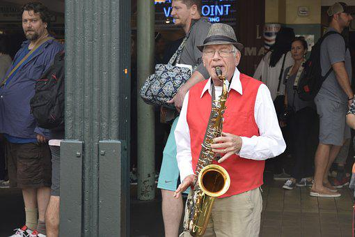 Seattle, Pikes Place Market, Street Performer, Jazz