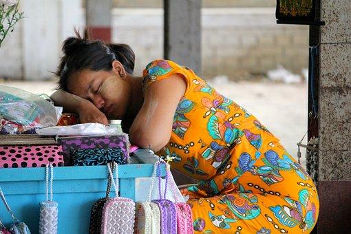 Burma, Myanmar, Woman, Market Stall, Portrait, Human