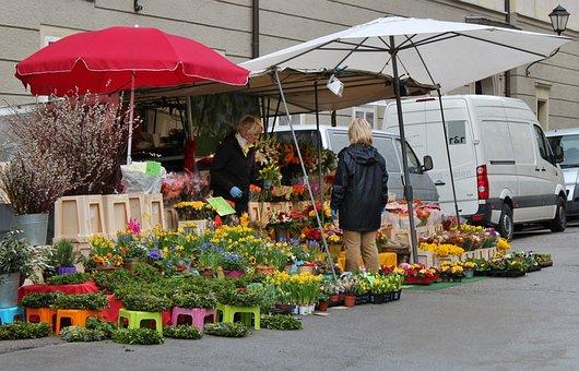 Market, Market Day, Flowers Was, Market Umbrellas, Sale